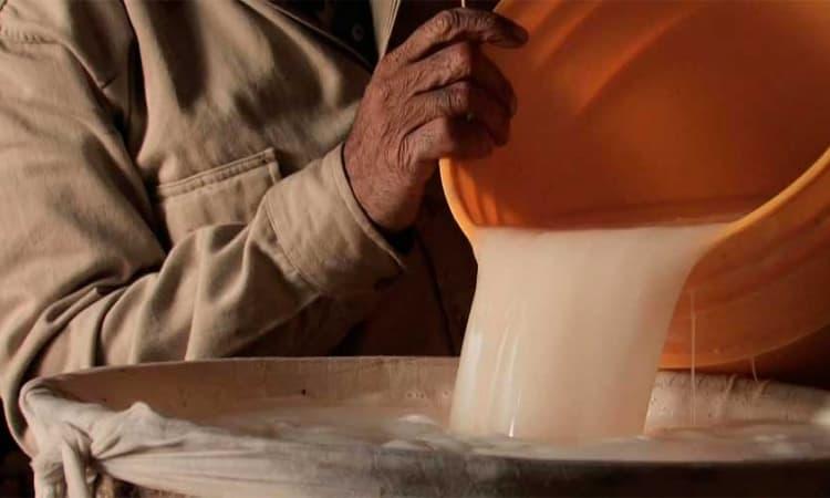 colando el pulque, proceso de elaboración