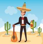 charro mexicano tequila en mano