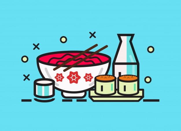 ilustración de sake en la cocina