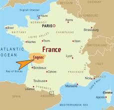 mapa de Francia mostrando la ciudad de Cognac