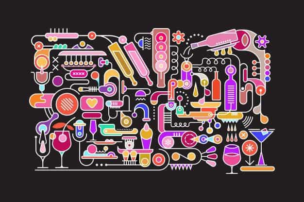 ilustración de combinaciones con vodka